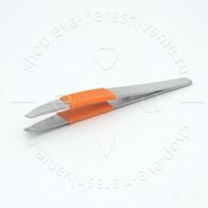 DEWAL BEAUTY, Пинцет косметический с силиконовой вставкой, 10 см TW-09