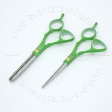 """Dewal SET-MC-G набор парикмахерских ножниц в чехле 5.5"""" (прямые и филировочные), зеленые."""
