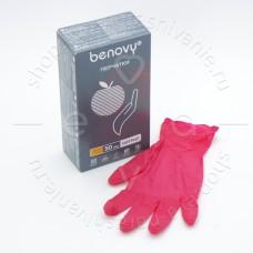 Benovy, Перчатки нитриловые красные, размер M, 100 шт.